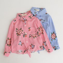 Wholesale Girls Mandarin Top - Everweekend Kids Baby Fashion Stripe Turn-over Collar Shirt Western Baby Print Flowers Autumn Blouse Tops Clothing