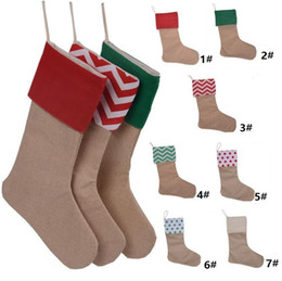 Wholesale Media Stocks - 12*18inch 2017 New high quality canvas Christmas stocking gift bags Xmas stocking Christmas decorative socks bags 4543