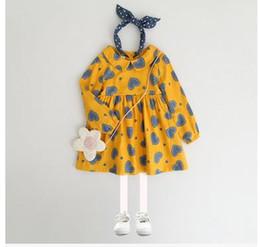Wholesale Love Dolls Full - Baby girls dresses Autumn new sweet girls doll collar love-heart printed dress children long sleeve Zipper back dress Kids clothing G0942