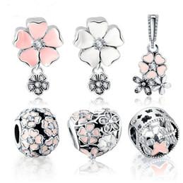 Flor de metal cuentas de esmalte online-100% 925 Sterling Silver Charm Bead Flower Enamel Beads Fit Pulsera Auténtica Joyería de Lujo de Las Mujeres Envío Gratis