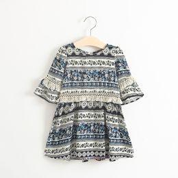Wholesale Dresses Leopard Kids - Summer kids dress baby girl half sleeve Bohemia dress floral dress blue color for 1~7 years