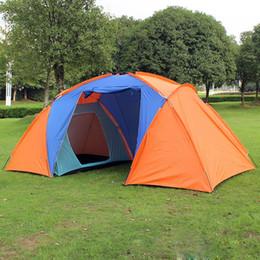 Tienda de lona de la familia online-Al por mayor-Mejor oferta 5 Persona Familia Camping Dome tienda de lona Swag Senderismo Playa 2 habitaciones Familia tienda de campaña al aire libre Playa