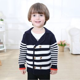Wholesale Boy Winter Wool Coat - Everweekend Baby Boys Crochet Knitted Buttons Coats Western Fashion Ins Hot Boys Knitting Stripe Autumn Coats Outwears