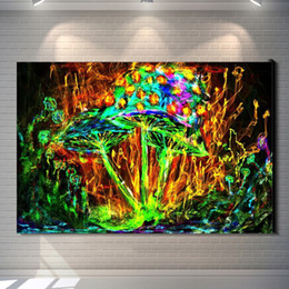 Wholesale Landscape Poster Paints - Vintage Abstract Mushrooms Colorful Psychedelic Painting Picture Canvas Poster Bar Pub Home Art Decor Custom Fashion Print Canvas Painting