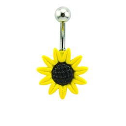Anneaux de nombril en plastique en Ligne-Mix Order Belly Anneaux en acier inoxydable 316L 2 couleurs plastiques Sunflower Navel Rings bijoux de piercing hypoallergénique