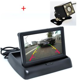 Wholesale Video Monitor Car - Auto Parking Assistance New 4LED Night Vision Car CCD Rear View Camera With 4.3 inch Color LCD Car Video Foldable Monitor Camera