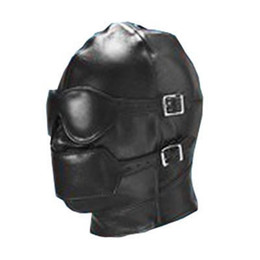 Wholesale Bondage Leather Faux - Bondage Gear Full Cover Hood Mask Muzzle Gimp Detachable Faux Leather with Detachable Eye Pad Mouth Gag Fetish Sex Toy