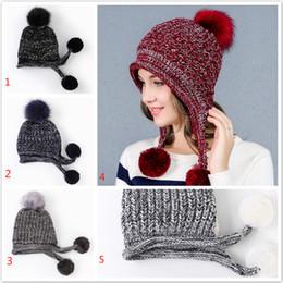 Wholesale Wholesale Mother Garden - Women ladies winter popular headwear mother fashion Cap thicker warm rabbit knitted fur ball pom beanie hats