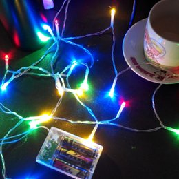 Wholesale Light Blue Wedding Cards - 2M 20LED Battery Operated LED String Lights for Christmas Halloween Party Universal LED Strings for Party Wedding Decorations Lights