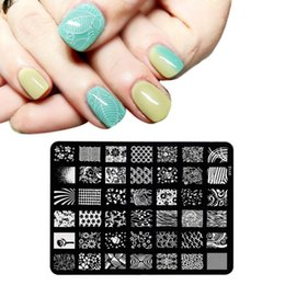 Wholesale Manicure Brand - Brand New 1PC Stamping Fashion Lace Flower Designs Nail Art Templates DIY Stencil Stamp Plates Polish Image Manicure Tools