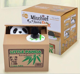 Wholesale Plastic Toy Banks - Wholesale- Mischief Saving Box Little Panda Saving Box Toy Funny Saving Box Animals Panda Automatic Electric Stole Coin Piggy Bank As Gift