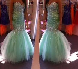 Wholesale Mint Mermaid Tulle Prom Dress - Mermaid Prom Dresses 2016 New Design Mint Green Long Prom Dresses Sweetheart Sleeveless Sparkling Dresses Floor Length Party Evening