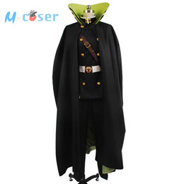 Wholesale Custom Cosplay Outfits - Wholesale-Seraph of the End Yuichiro Hyakuya Uniform Outfit Black Cloak Coat Shirt Pants Anime Halloween Cosplay Costume For Men Custom