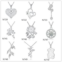 Wholesale Christmas Bear Cheap - Cheap women's gemstone sterling silver Pendant Necklace GTP3,Fashion plant bear 925 silver Necklace(with chain) 10 pieces a lot mixed style