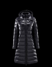 Wholesale Womens High Collar Coats - France Luxury Monclearing Winter Thick Waisted Women Down Coats Fur Collar Female Pockets Long White Down Jackets High and Low Womens Coats