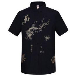 Wholesale tai gold - Wholesale-Navy Blue Traditional Chinese Men's Embroidery Dragon Shirt Summer Cotton Linen Kung fu Tai Chi Shirt M L XL XXL XXXL MS054