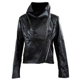 Wholesale Leather Biker Jackets Wholesale - Wholesale- FS Hot Womens Slim Biker Motorcycle PU Soft Leather Zipper Jacket Coat S-XXL