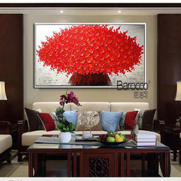 Wholesale Modern Canvas Art Flower Painting - Nice Red Flowers Painting 100% Hand Painted Oil Painting on Canvas Modern Fashion Home Wall Art Decoration Gift