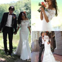 Off ombro meio vestido de casamento manga on-line-Fora do ombro vestidos de noiva de renda cheia sereia meia manga trem da varredura vestidos de noiva para o casamento custom made robe de soirée longue
