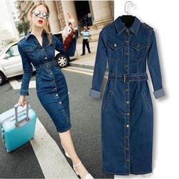 Wholesale Denim Shirt Women Cowboy - New 2017 Women Denim Long Dress Slim Big Size Jeans Dress One-piece Cowboy Dress 2XL With Belt For Women jeans maxi dress