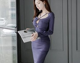 Wholesale Slim Dresses Korea - 2016 new long-sleeved long-sleeved in South Korea aristocratic temperament sexy Slim hip-bottomed dress