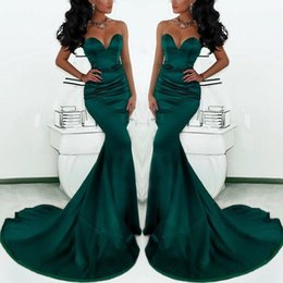 Wholesale Orange Ruffled Fishtail Dresses - 2018 Cheap Gorgeous Sweetheart Long Emerald Green Mermaid Prom Dresses Satin Court Train Fishtail Special Occasion Evening Gowns For Women