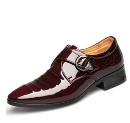 Wholesale Korean Oxford Flats - Mens business wedding work dress bright genuine leather shoes point toe oxford shoe lace up Korean fashion Zapatos Hombres man PX38