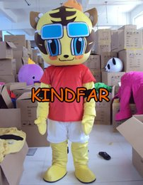 Wholesale Tigger Outfits - Wholesale-New Style Tiger Tigger Mascot Costume Fancy Dress Cartoon Character Party Outfit Suit Free Shipping
