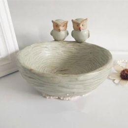 Wholesale Retro Ceramic Fruit - AIBEI-Europe pastoral Style Zakka Ceramic Pot Trays Retro Owl glaze Dry Fruit Tray Flowerpot 15.5*15.5*10CM