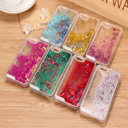 Wholesale colorful moving - Moving Stars Transparent Hard PC Cover Dynamic Liquid Glitter Sand 3D Stars Back Case Cover for iphone samsung colorful