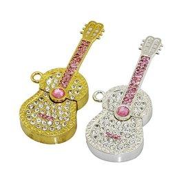 Wholesale Usb Flash Drive Metal Jewelry - Jewelry Diamond Guitar USB Pen Drive Gift Flash Sticks USB 2.0 Real 2GB 4GB 8GB 16GB USB Pen Drives