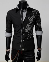 Wholesale Dragon Tattoo Shirts - 2016 cotton blend turn-down collar New Men Male Fashion Silm Fit Shirt Long Sleeve Tattoo Dragon Printed Shirt 4 Colors 4 Size