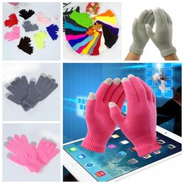 Wholesale Touch Screen Glove Cotton - Fingers Gloves Christmas Colorful Winter Warm Touch Gloves Cotton Capacitive Touch Screen Conductive Gloves Mix Color YYA724