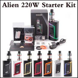 Wholesale E Cig Dual Starter Kit - Top quality SMOK Alien 220W Kit E Cigarette Advanced Vaper Starter Kit 220Watt TC E Cig Kit dual 18650 Battery In Stock