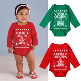 Wholesale Toddler Boy Outfits For Christmas - Newborn Boys Romper Christmas Autumn Letter Onesies Baby Clothes For Girls Toddler Long Sleeve Triangle Onesies Outfits