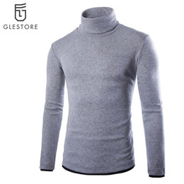 Wholesale Mens Gray Sweater - Wholesale-2016 Top Fashion Sweater Men Casual Knitted Sweaters Men Pullovers Long Sleeve Male Turtle Neck Colorful Mens Sweaters 6 Colors