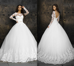 Wholesale Sexy Classy Lace Dresses - Classy Lace Appliqued Ball Gown Wedding Dresses With Long Sleeves Sheer Jewel Neckline Tulle Chapel Beaded Backless Bridal Gowns