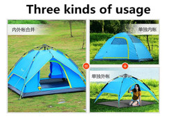 Wholesale Blue Hydraulics - Hydraulic Automatic Tent Free Build Outdoors Tents Camping Shelters Waterproof Sunny Tent Double-deck Protective 3-4 People Fast Shipping