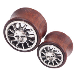 Wholesale Ear Tunnel Stretchers - Stainless Steel Ear Plugs Hollow Wooden Sun Expander Stretcher Tunnels Piercing Gauges 8-20mm body jewelry plug tunnel