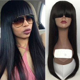 Wholesale 16 Inch Human Hair Wig - 8-24 Inch Black 100% Virgin Peruvian Full Lace Human Hair Wigs With Bangs Glueless Lace Front Wig 130 Density