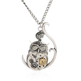Wholesale Vintage Owl Clocks - 2016 Fashion Accessories Jewelry Owl Clock Vintage Steampunk Necklace Silver Maxi Statement Pendant Necklace Women Costume Jewelry gift Col