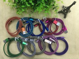 Wholesale Iphone Charger Fabric - High Quality Weave Braided Aluminum 1M 2M 3M V8 Micro USB Cable Fabric Nylon Data Sync Charger Adapter Cord Cable for Samsung S7 s6 s6 6s 7