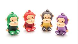 Wholesale Disk Usb 256 Gb - 5 Piece Mini Cartoon Monkey U Disk PVC Monkey USB Flash Drives Brand New USB2.0
