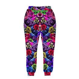 Wholesale Harem Style Pants Women - New style men women 3d harem pant print colorful roses flowers long trousers joggers hip hop pant