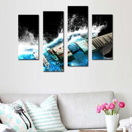 Wholesale Picture Guitars - 4 Picture Combination Guitar In Blue And Waves Looks Beautiful Wall Art Painting On Canvas Music Pictures For Home Decor Gift