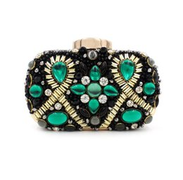 Wholesale Diamond Pillow - 2016 European and American Heavy gem diamond evening bag new upscale ladies clutch bag beaded chain