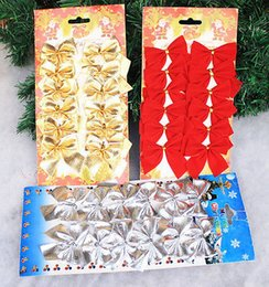 Wholesale Christmas Tree Selling - 2017 Hot Selling 12 pcs set Christmas tree decoration red bowknot ornaments Golden Silvery bow xmas new year decoration