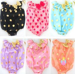 Wholesale Cut Watermelon - New Baby Girl Bodysuits Bowknot Polka Dot Cut Sleeveless Bodysuits Have Headbands 6 colors 4 s l free shipping