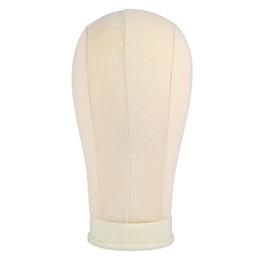 2019 têtes pour perruques Tête de mannequin perruque Stand20 / 23/24 / inch beige affichage mannequin perruque Stand Making Style Toile Tête Mannequin perruque Stand têtes pour perruques pas cher
