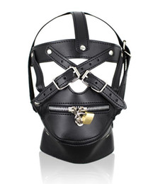 Wholesale Ball Gagged Black Woman - Porno Fetish Faux Leather Hood Mask Headgear Bondage Slave Sex Toys For Men And Women,Fun Sex Games Adult Products For Couples